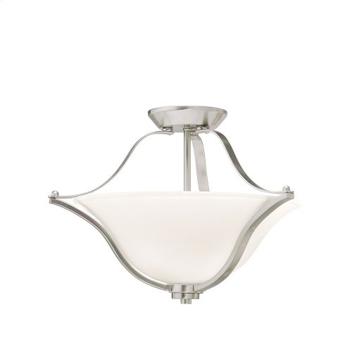 Langford 2 Light Convertible Pendant with LED Bulbs Brushed Nickel
