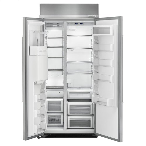 20.8 cu ft 36-Inch Width Built-In Side-by-Side Refrigerator with PrintShield Finish - Stainless Steel with PrintShield™ Finish