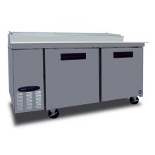 Refrigerator, Pizza Prep Table, Stainless Door, Two Section