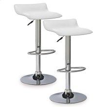 White Adjustable Swivel Bar Stool #10042WH - Set of 2