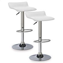 White Adjustable Swivel Bar Stool #10042WH - Set of 2