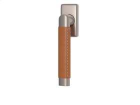 Oval Angle Stitch Out Combination Leather In Tan And Satin Nickel