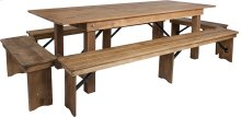 8' x 40'' Antique Rustic Folding Farm Table and Four Bench Set
