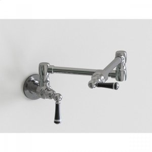 "Brushed Stainless - 17 3/4"" Wall Mount Pot Filler with Black Ceramic Lever Product Image"