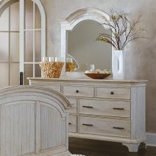 Aberdeen - Arch Mirror - Weathered Worn White Finish