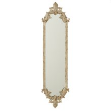 Distressed Ivory & Gold Fleur de Lis Vertical Wall Mirror