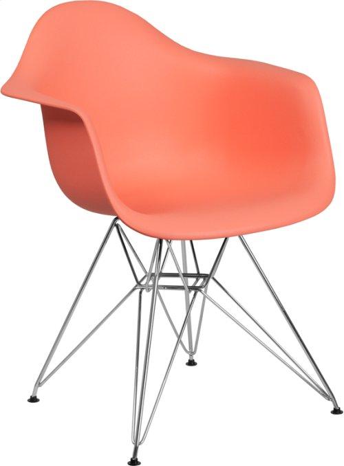 Alonza Series Peach Plastic Chair with Chrome Base