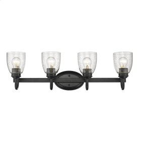 Parrish 4 Light Bath Vanity in Black with Seeded Glass