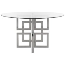 Harlan Chrome Round Glass Top Dining Table - Chrome