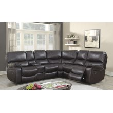 Ramsey Chocolate Leather-Look Reclining Sectional, M6053