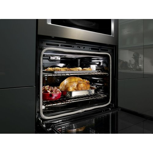 """30"""" Combination Wall Oven with Even-Heat True Convection (Lower Oven) - Black Stainless Steel with PrintShield™ Finish"""
