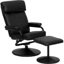Contemporary Multi-Position Headrest Recliner and Ottoman with Wrapped Base in Black Leather
