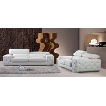 Divani Casa Corinne Modern Tufted Leather Sofa Set with Headrests and Crystals