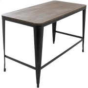 Pia Office Desk - Black Metal, Espresso Bamboo Product Image