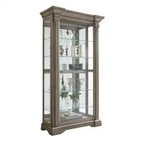 Sliding Front Display Cabinet With Gray Wash Finish Product Image