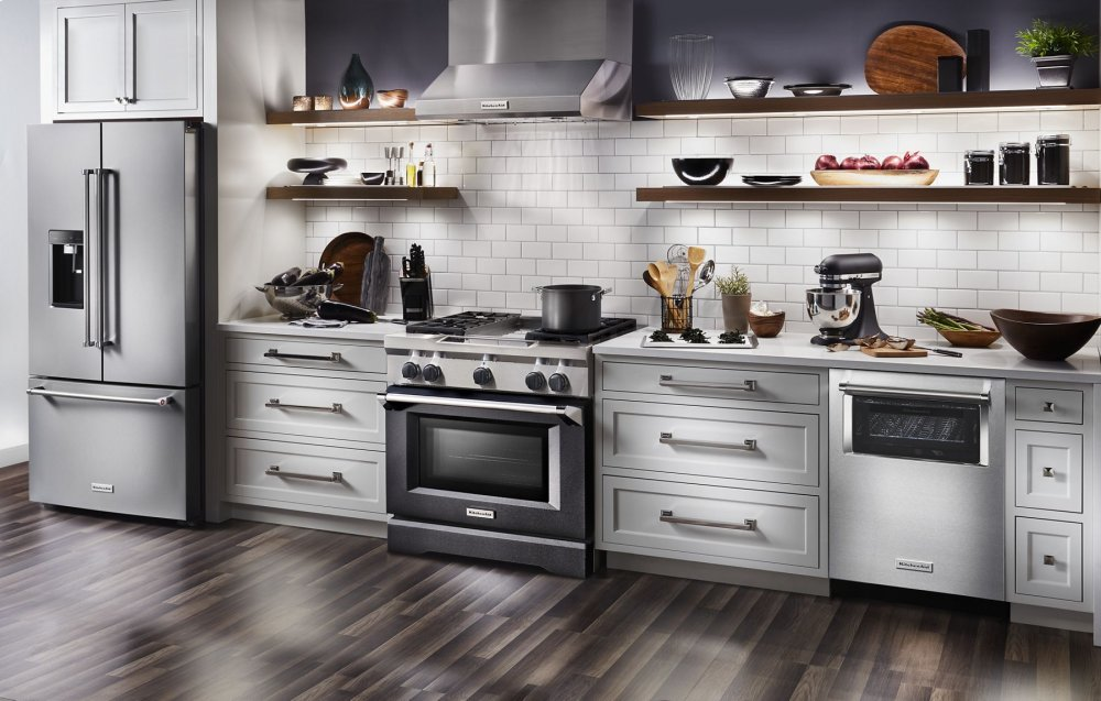 Kitchenaid 36u0027u0027 4 Burner With Griddle, Dual Fuel Freestanding Range,  Commercial