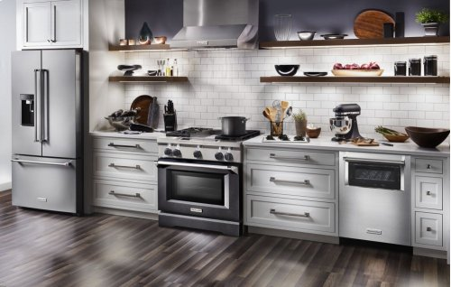 36'' 4-Burner with Griddle, Dual Fuel Freestanding Range, Commercial-Style - Imperial Black