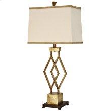 Vintage Gold Metal Base Table Lamp with Designer Fabric Trimmed Hardback Shade