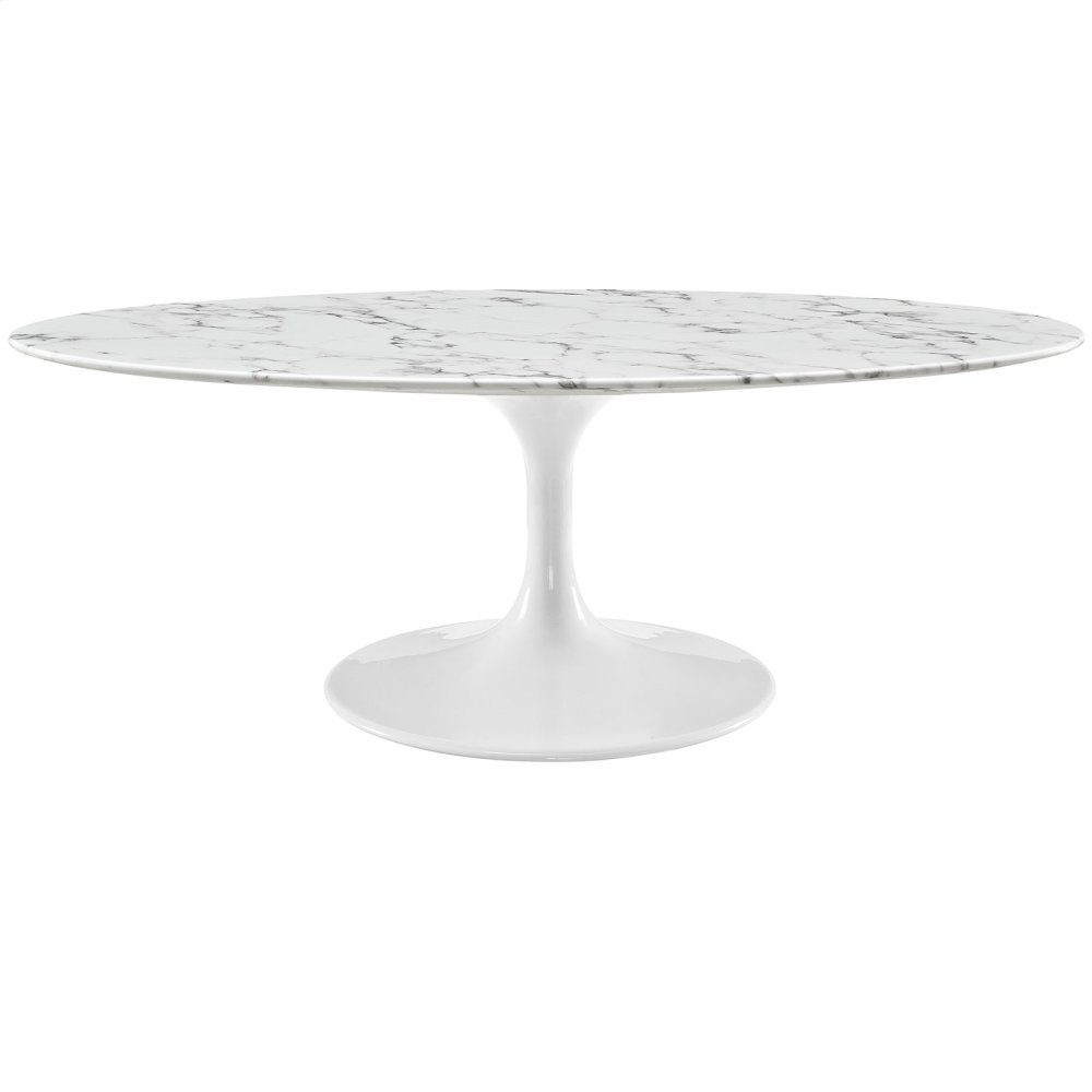 "Lippa 48"" Oval-Shaped Artificial Marble Coffee Table in White"