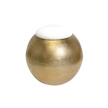 Gold Leaf Hammered Round Stool With White Linen Top