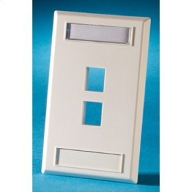 Single gang plastic faceplate, holds two Keystone jacks or modules, Electrical Ivory