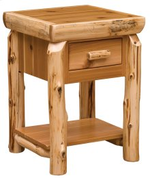 One Drawer Nightstand with Shelf Natural Cedar