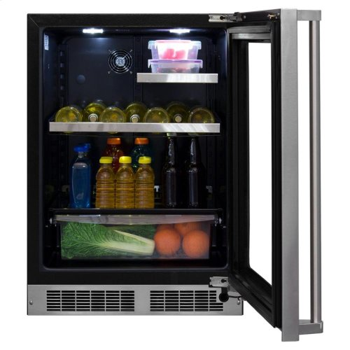 """24"""" Beverage Refrigerator with Drawer - Panel-Ready Framed Glass Door with Lock - Integrated Right Hinge (handle not included)*"""