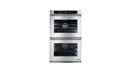 """Renaissance 27"""" Double Wall Oven in White Glass - ships with Epicure Style white handle."""
