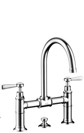 Brushed Gold Optic 2-handle basin mixer 220 with lever handles and pop-up waste set