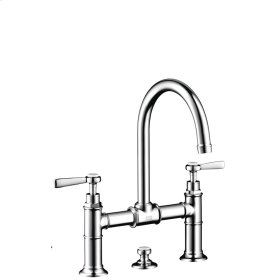 Polished Gold Optic 2-handle basin mixer 220 with lever handles and pop-up waste set