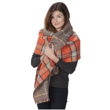 Persimmon Tartan Reversible Blanket Wrap in Gift Box.