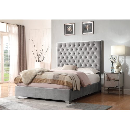 Emerald Home Lacey Upholstered King Bed Kit Gray B132-13-03-k