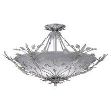 Primrose 6 Light Faceted Crystal Silver Semi-Flush