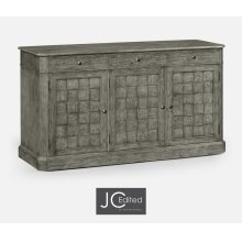 "68"" Antique Dark Grey Three Door Sideboard"