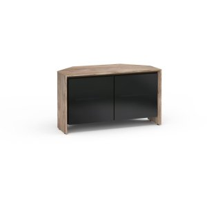 Salamander DesignsBarcelona 221, Twin-Width Corner Cabinet, Natural Walnut with Black Glass Doors