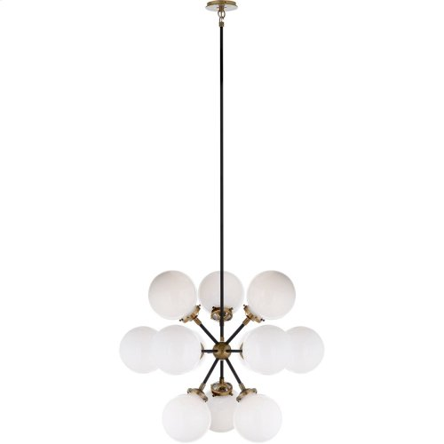 Visual Comfort S5270HAB/BLK-WG Ian K. Fowler Bistro 12 Light 23 inch Hand-Rubbed Antique Brass Pendant Ceiling Light, Ian K. Fowler, Small, Round, White Glass