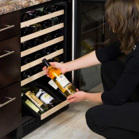 "24"" High Efficiency Single Zone Wine Cellar - Black Frame Glass Door - Left Hinge, Black Designer Handle"