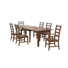 DLU-BR134-AM7PC  7 Piece Rectangular Extendable Table Dining Set  Amish Brown