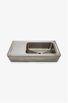 "Kerr 48"" x 21"" x 10 1/4"" Stainless Steel Farmhouse Apron Kitchen Sink with Center Drain and Drainboard STYLE: KRSK80"