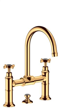 Polished Gold Optic 2-handle basin mixer 220 with cross handles and pop-up waste set