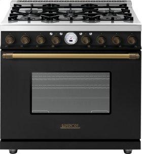 Range DECO 36'' Classic Black matte, Bronze 6 gas, electric oven, self-clean
