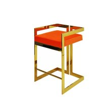 Counter Height Brass Stool With Orange Velvet Cushion - Seat Height 27""