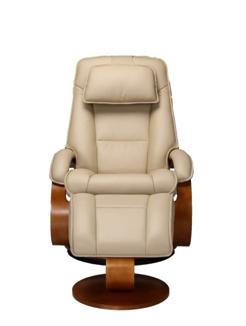Cobblestone (Tan) Top Grain Leather with Walnut Finish - Reclines - Swivels - Lumbar Support - Adjustable Headrest - Quality Breathable Air Leather
