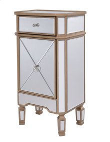 "1 Drawer 1 Door Cabinet 18"" x 12"" x 32"" Gold Finish with Clear Mirror"