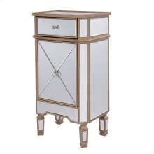 """1 Drawer 1 Door Cabinet 18"""" x 12"""" x 32"""" Gold Finish with Clear Mirror"""