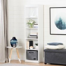 5-Shelf Narrow Bookcase - Pure White