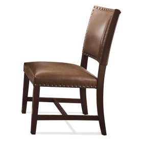 Bonded Leather Parsons Chair Warm Tobacco finish
