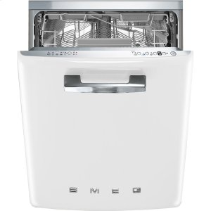 "SmegApprox 24"" Pre-finished Under-Counter Dishwasher with 50'S Style Retro handle, White"