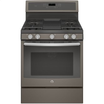 "GE Profile 30"" Gas Freestanding Convection Range Slate PCGB911EEJES"