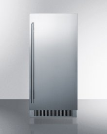 """15"""" Wide Built-in Undercounter Outdoor Clear Icemaker With Stainless Steel Exterior and Internal Pump"""